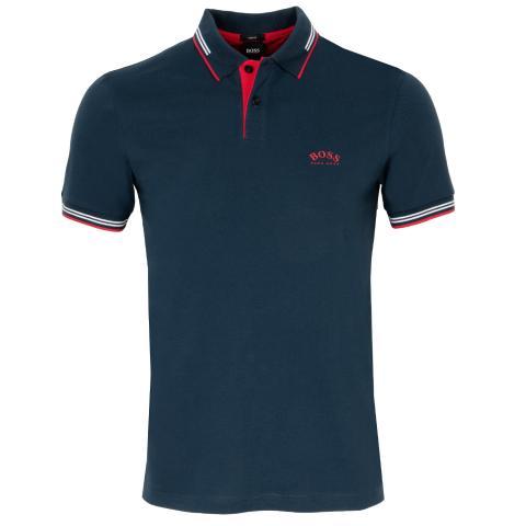 BOSS Paul Curved Polo Shirt Navy