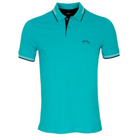 BOSS Paul Curved Polo Shirt Open Blue 488