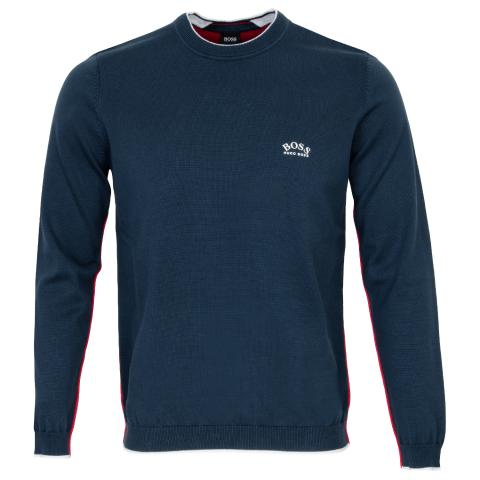 BOSS Riston Crew Neck Sweater Navy