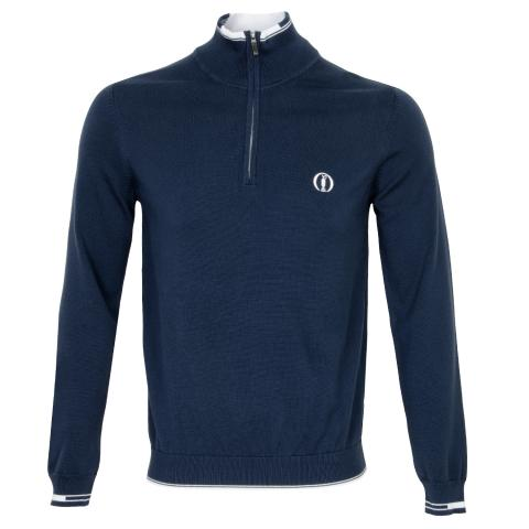 BOSS Zyrod Open Championship Zip Neck Sweater Navy