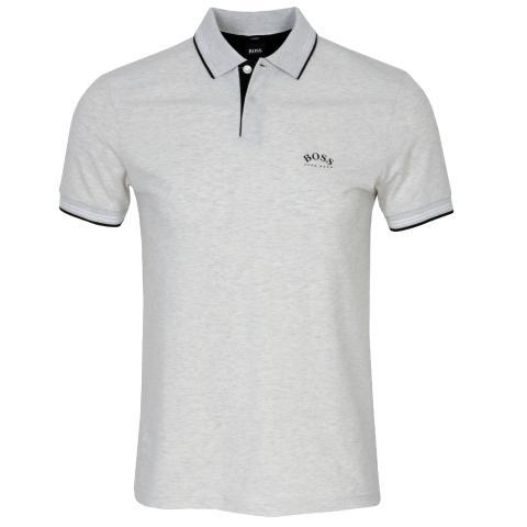 BOSS Paul Curved Polo Shirt Light/Pastel Grey