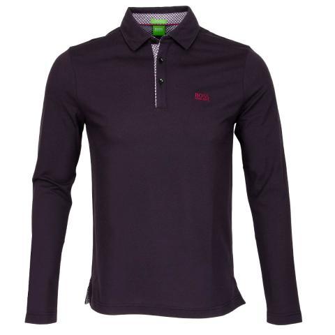 Hugo boss lesona long sleeve polo shirt dark purple for Long sleeve purple polo shirt