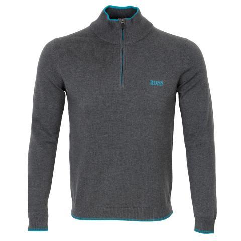 BOSS Zimex Zip Neck Sweater Medium Grey
