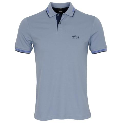 BOSS Paul Curved Polo Shirt Silver 043
