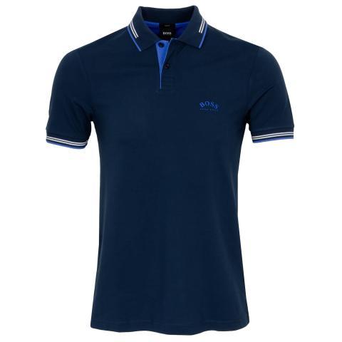BOSS Paul Curved Polo Shirt Dark Blue 408