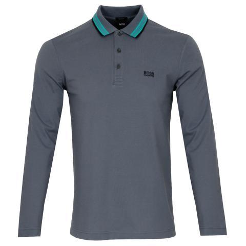 BOSS Plisy Long Sleeved Polo Shirt Dark Grey 028