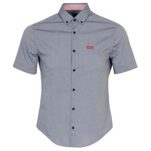 BOSS Biadia Short Sleeve Dress Shirt Open Blue