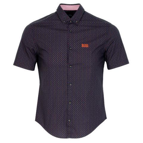 BOSS Biadia Short Sleeve Patterned Dress Shirt Navy