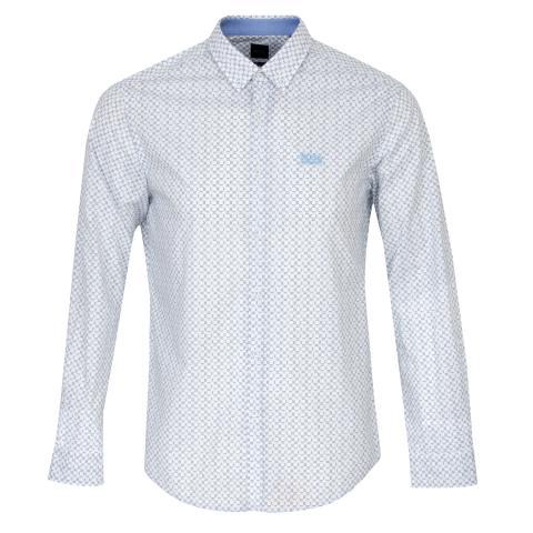 BOSS Biado Patterned Dress Shirt White/Blue