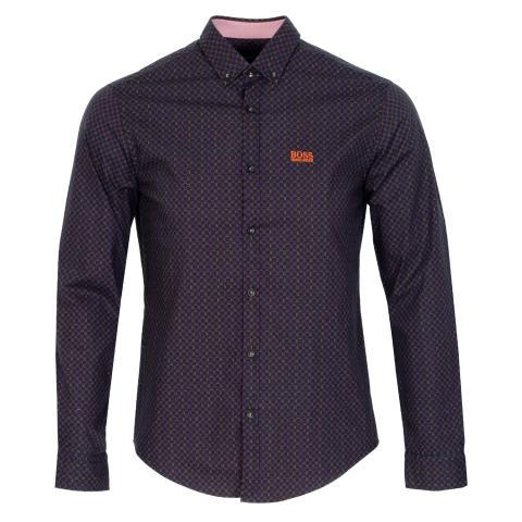 BOSS Biado Patterned Dress Shirt Navy