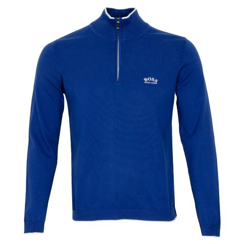 BOSS Ziston Zip Neck Sweater Bright Blue