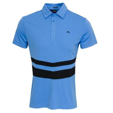 583ea9faca5 J Lindeberg Double Stripe TX Polo Shirt Silent Blue