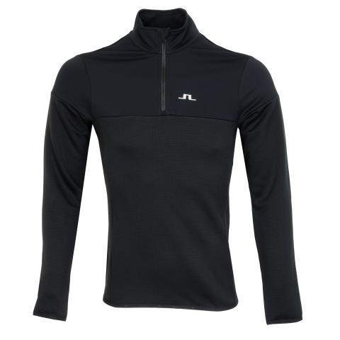J Lindeberg Hubbard 1/4 Zip Brushed Sweater Black