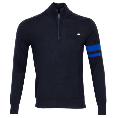 J Lindeberg Abel Zipped Sweater Egyptian Blue