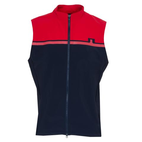 J Lindeberg Blocked Logo Softshell Vest Red Bell