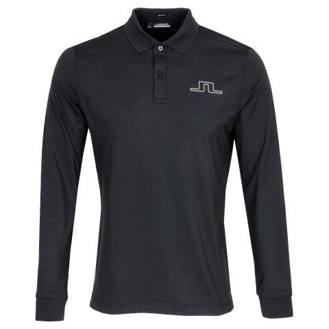 J Lindeberg Bridge Long Sleeved Polo Shirt Black Melange