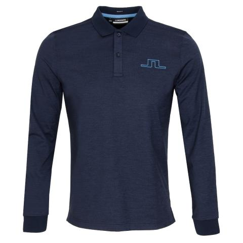 J Lindeberg Bridge Long Sleeved Polo Shirt Navy Melange