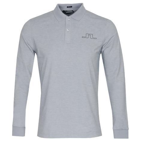J Lindeberg Bridge Long Sleeved Polo Shirt Stone Grey Melange