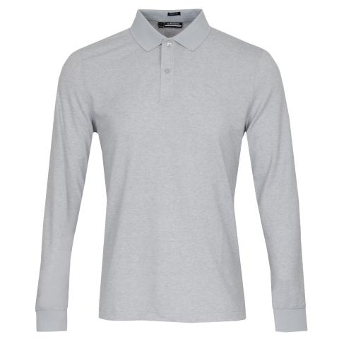 J Lindeberg Ian Long Sleeved Polo Shirt Stone Grey Melange