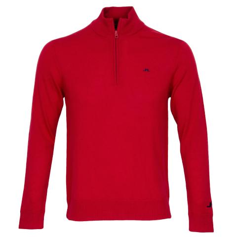 J Lindeberg Kian Zipped Sweater Red Bell