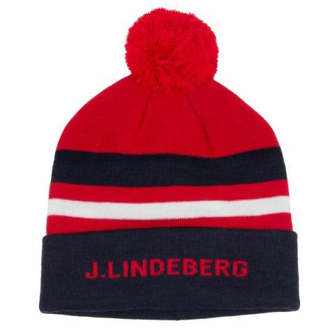 J Lindeberg Stripe Ball Beanie Hat Racing Red