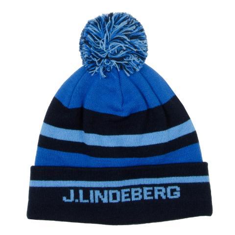 J Lindeberg Stripe Beanie Hat Egyptian Blue
