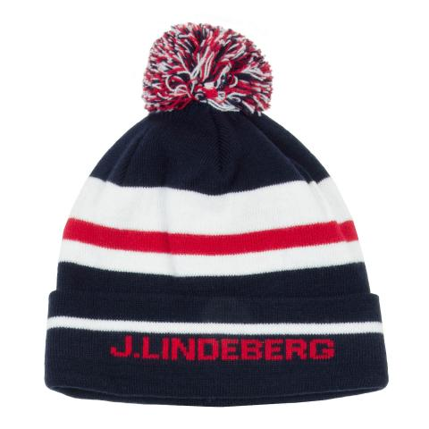 J Lindeberg Stripe Beanie Hat JL Navy AW20