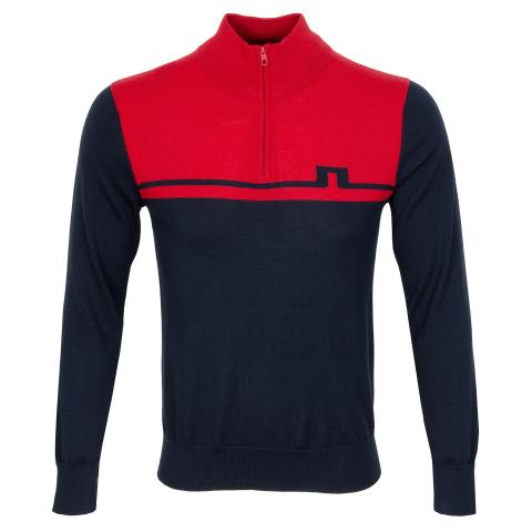 J Lindeberg Theo Zipped Sweater Red Bell