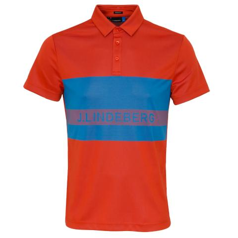 J Lindeberg Theo TX Jaquard Polo Shirt Tomato Red