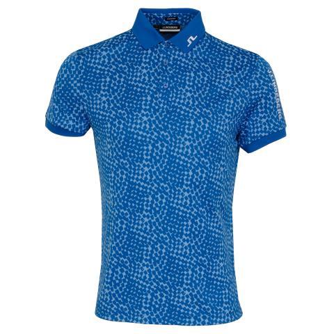 J Lindeberg Tour Tech Graphic Polo Shirt Checker Ocean Blue