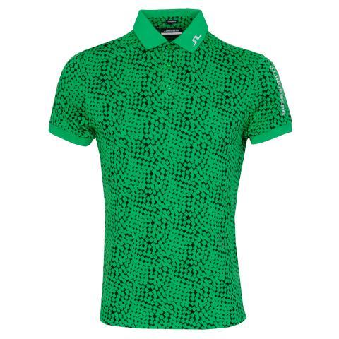 J Lindeberg Tour Tech Graphic Polo Shirt Checker Green Black