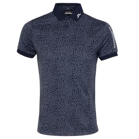 J Lindeberg Tour Tech Graphic Polo Shirt Checker Navy
