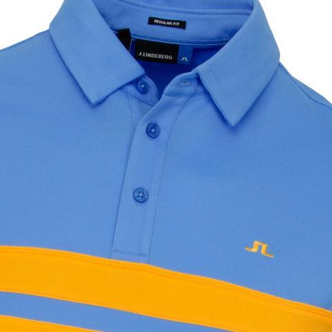 09cd301c6 J Lindeberg Leo Lux Pique Polo Shirt Ocean Blue