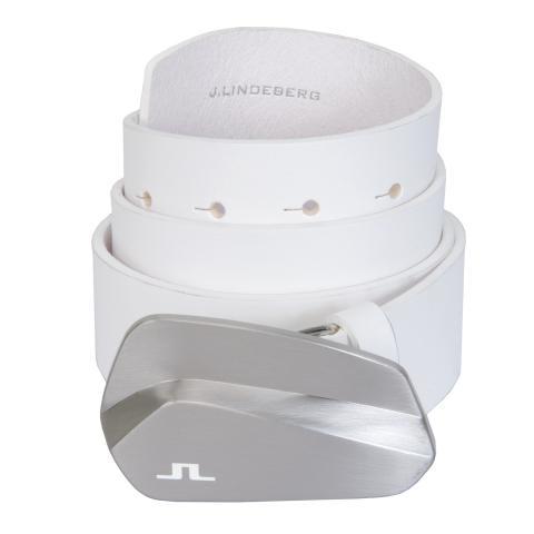 J Lindeberg Club Leather Belt White