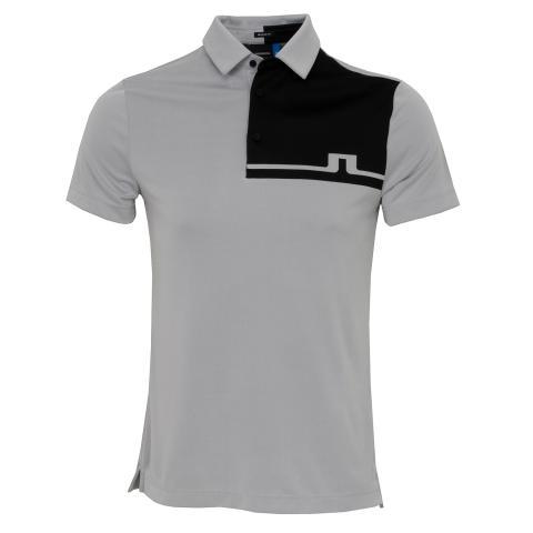 J Lindeberg Joaquin TX Jaquard Polo Shirt Stone Grey