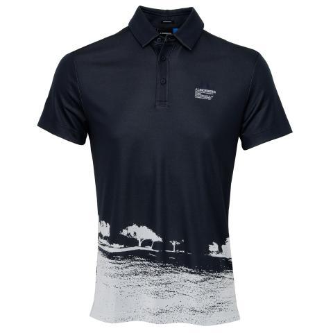 J Lindeberg Nash TX Jaquard Polo Shirt JL Navy