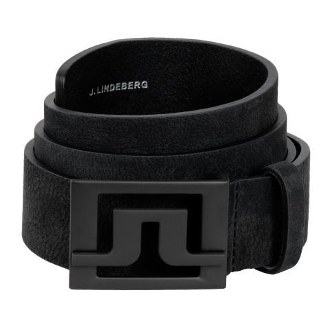 J Lindeberg Slater 40 Brushed Leather Belt Black SS20