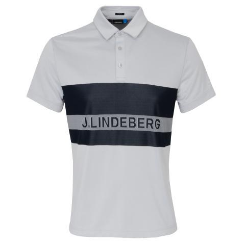 J Lindeberg Theo TX Jaquard Polo Shirt Stone Grey