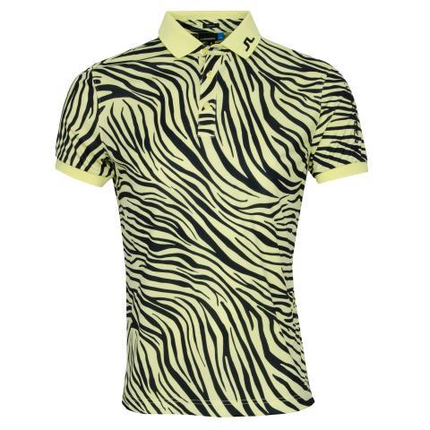 J Lindeberg Tour Tech TX Print Polo Shirt Zebra Worl Yellow