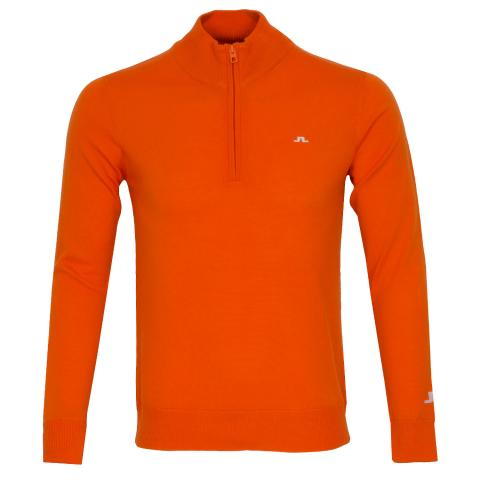 J Lindeberg Kian Zipped Golf Sweater Lava Orange