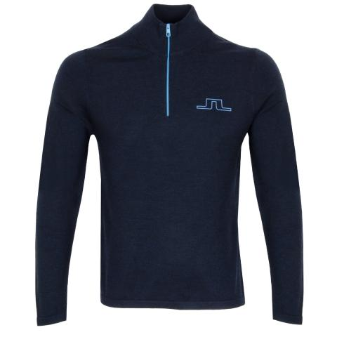 J Lindeberg Max Zipped Golf Sweater Navy Melange