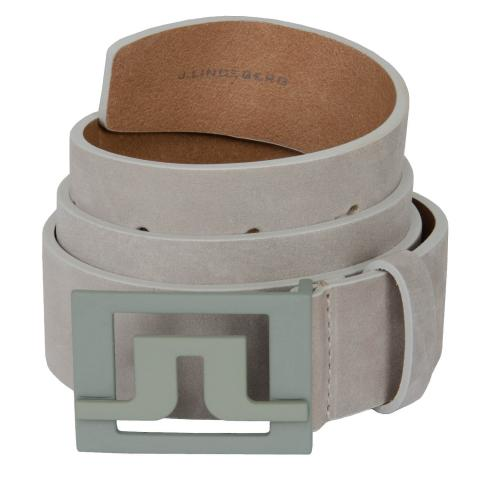J Lindeberg Slater Leather Belt Stone Grey