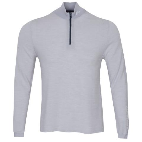 J Lindeberg Zam Zipped Golf Sweater Stone Grey Melange
