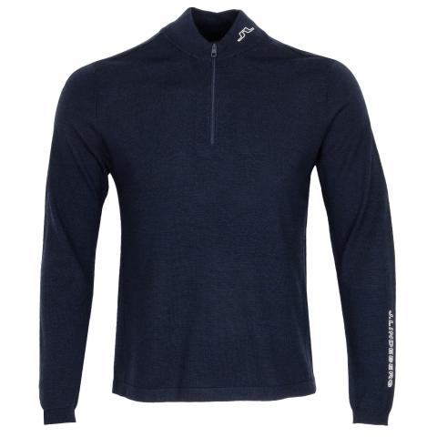 J Lindeberg Zam Zipped Golf Sweater Navy Melange