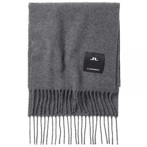 J Lindeberg Champ Solid Wool Scarf Dark Grey Melange