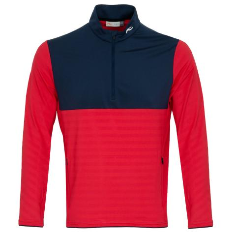 KJUS David Half Zip Golf Sweater Cosmic Red/Atlanta Blue