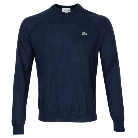 Lacoste Solid Breathable Knit Crew Neck Sweater