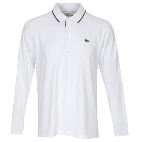 Lacoste LS Breathable Polo Shirt White/Navy Blue