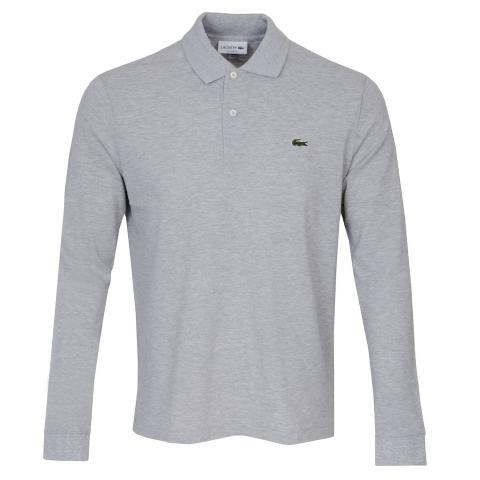 Lacoste Classic LS Polo Shirt Silver Chine
