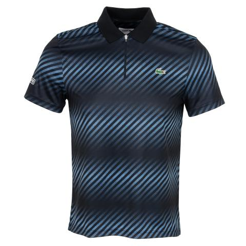 bdc42ce60 Lacoste Shaded Stripe Tech Pique Polo Shirt Black Neottia White